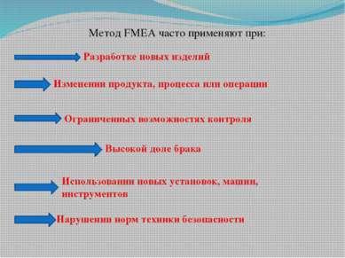Метод FMEA часто применяют при: Разработке новых изделий Изменении продукта, ...