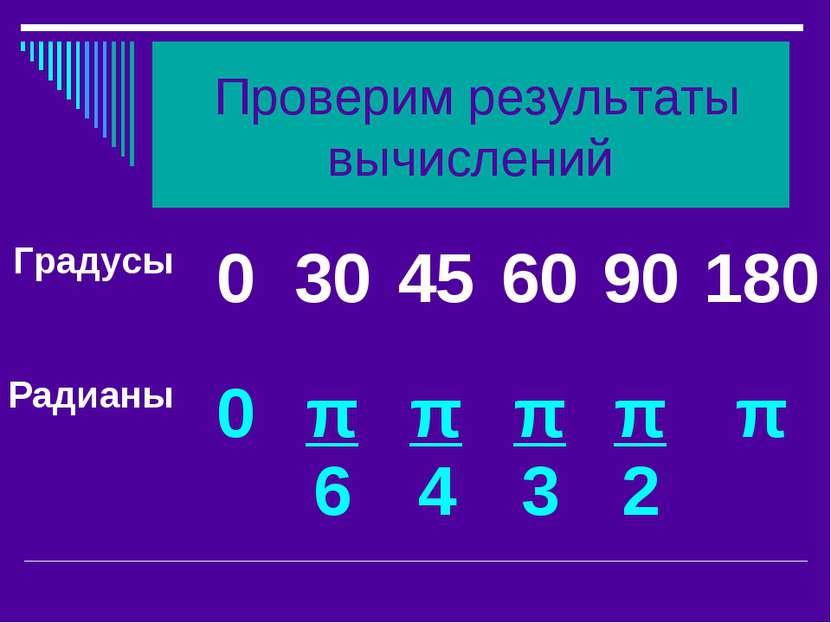 Проверим результаты вычислений Градусы 0 30 45 60 90 180 Радианы 0 π 6 π 4 π ...