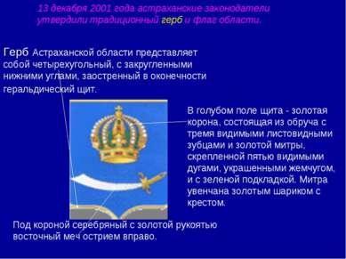 Герб Астраханской области представляет собой четырехугольный, с закругленными...