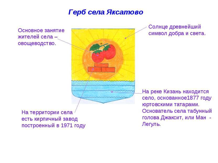 Герб села Яксатово Солнце древнейший символ добра и света. На реке Кизань нах...