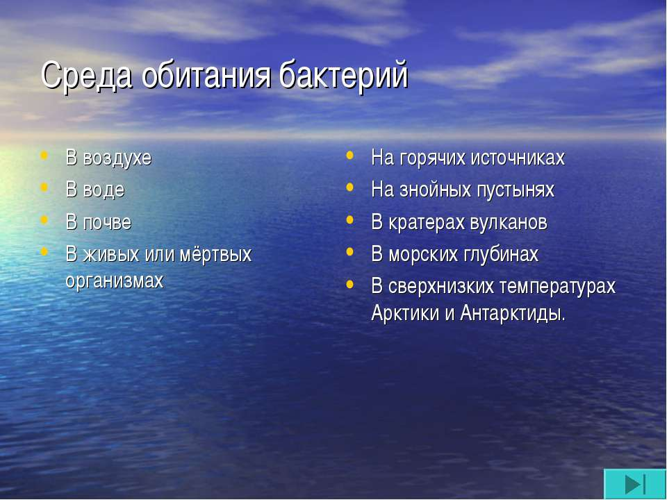 Среда обитания бактерий В воздухе В воде В почве В живых или мёртвых организм...