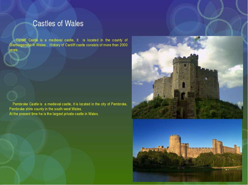 Castles of Wales Cardiff Castle is a medieval castle, it is located in the co...