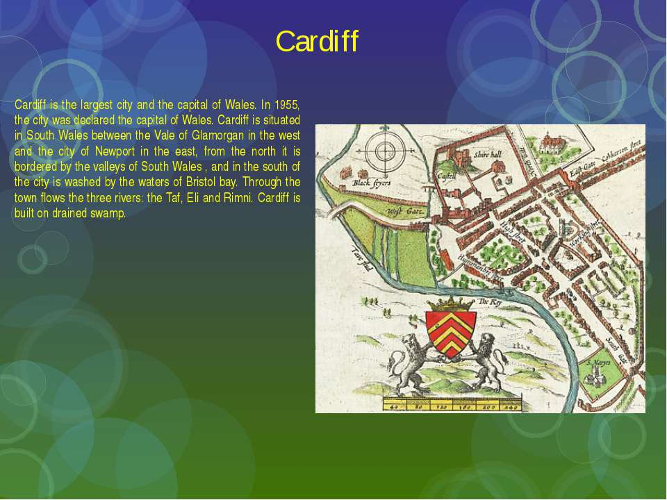 Cardiff Cardiff is the largest city and the capital of Wales. In 1955, the ci...