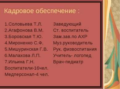 Кадровое обеспечение : 1.Соловьева Т.Л. 2.Агафонова В.М. 3.Боровская Т.Ю. 4.М...