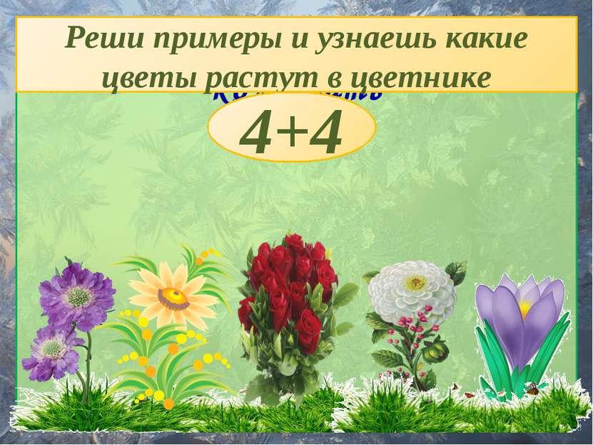 Цветник женщины, умевшей колдовать Реши примеры и узнаешь какие цветы растут ...