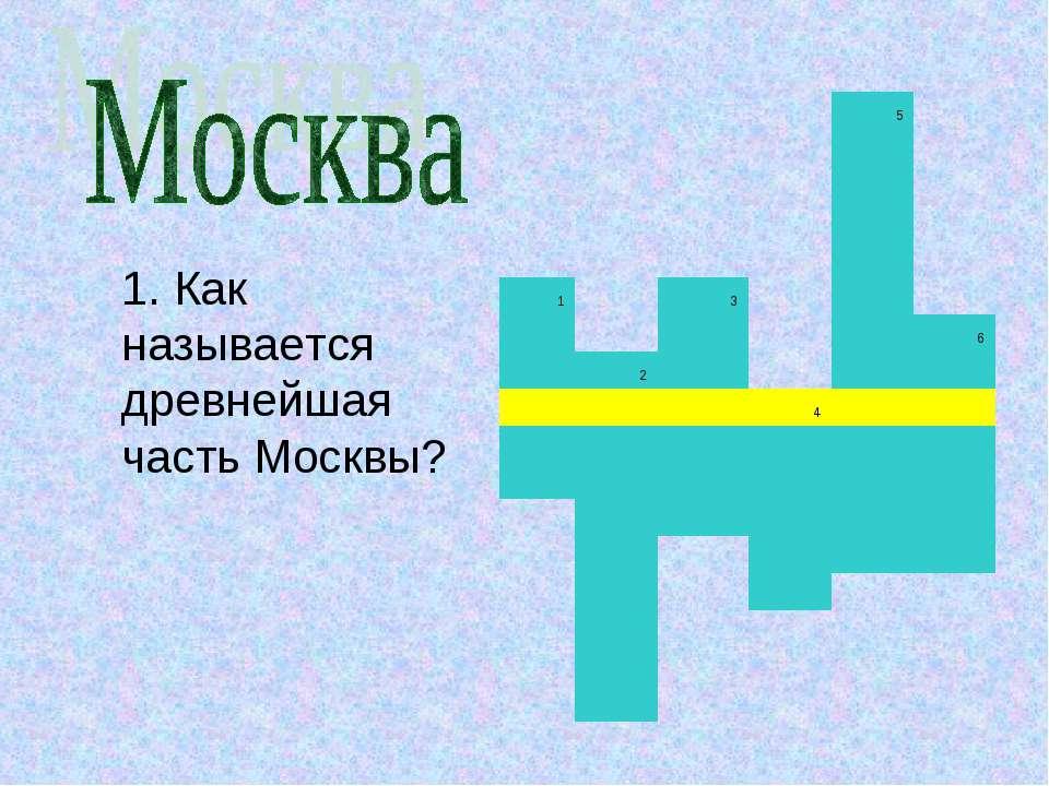 1. Как называется древнейшая часть Москвы?