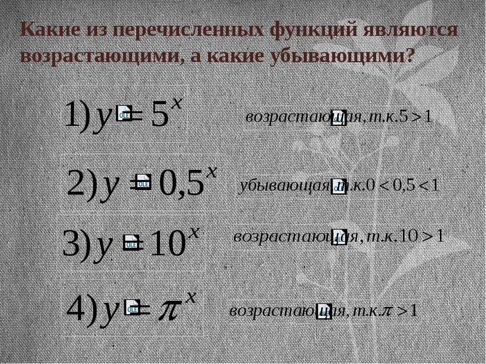Какие из перечисленных функций являются возрастающими, а какие убывающими?