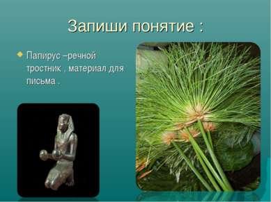 Запиши понятие : Папирус –речной тростник , материал для письма .