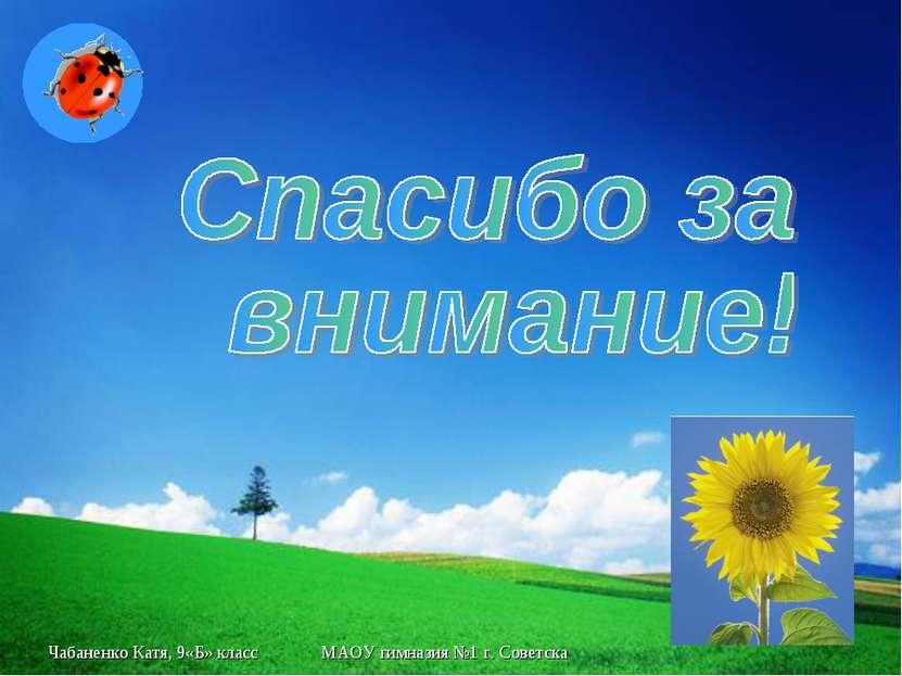 Чабаненко Катя, 9«Б» класс МАОУ гимназия №1 г. Советска Геометрия 8 класс