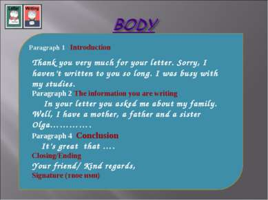 Paragraph 1 Introduction Thank you very much for your letter. Sorry, I haven'...