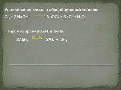 Улавливание хлора в абсорбционной колонне: Cl2 + 2 NaOH NaOCl + NaCl + H2O Пи...