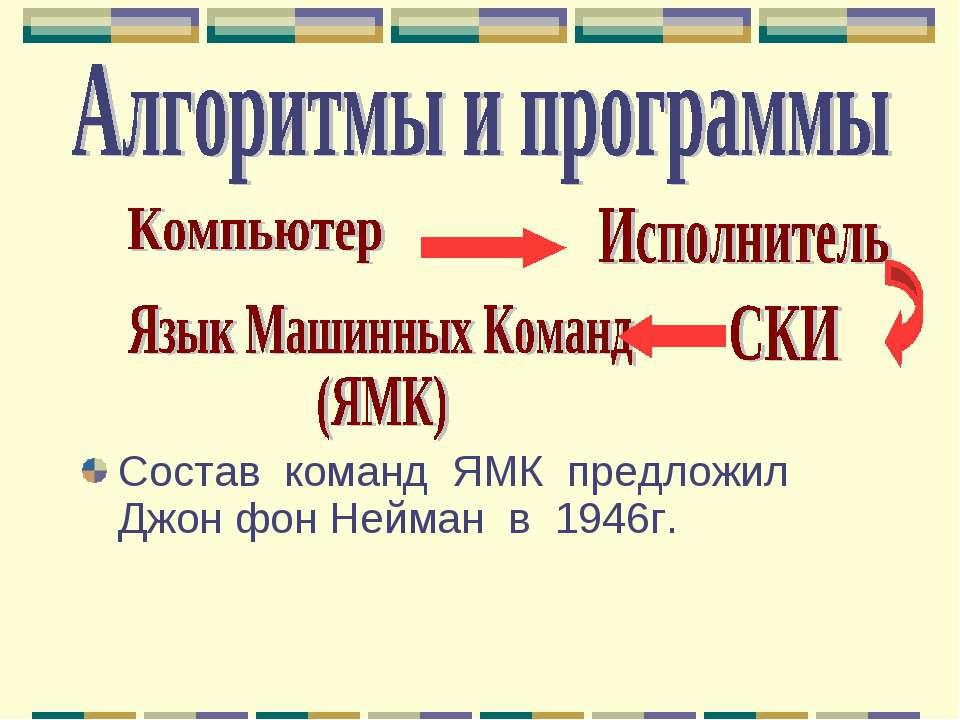 Состав команд ЯМК предложил Джон фон Нейман в 1946г.