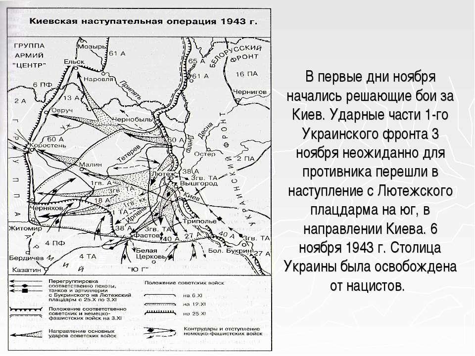 В первые дни ноября начались решающие бои за Киев. Ударные части 1-го Украинс...