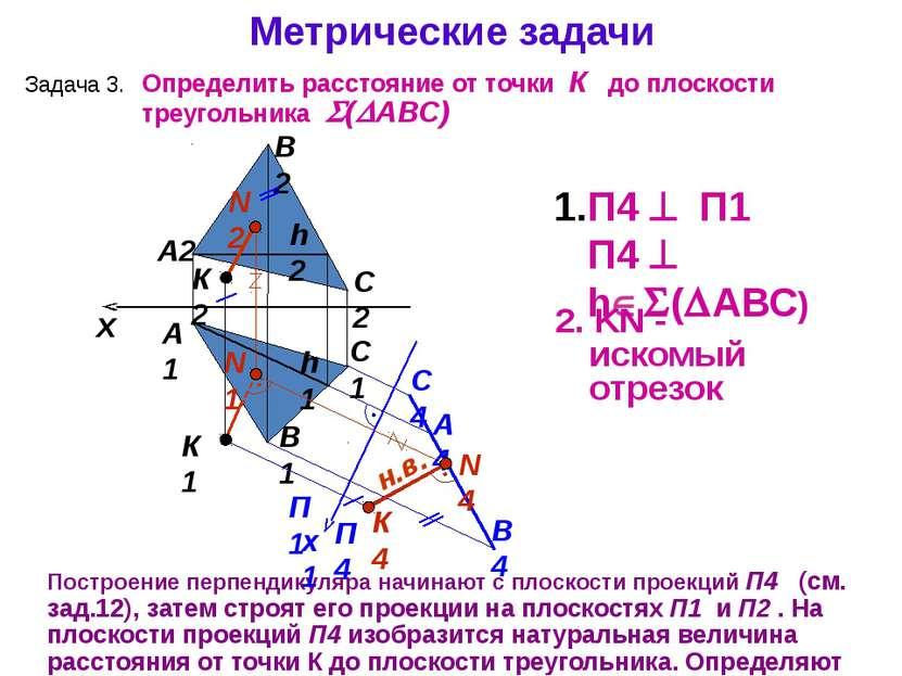 А1 А2 Построение перпендикуляра начинают с плоскости проекций П4 (см. зад.12)...