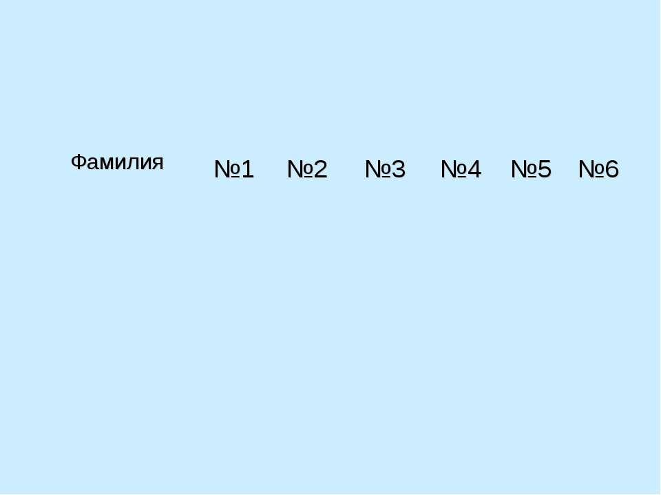 Фамилия №1 №2 №3 №4 №5 №6