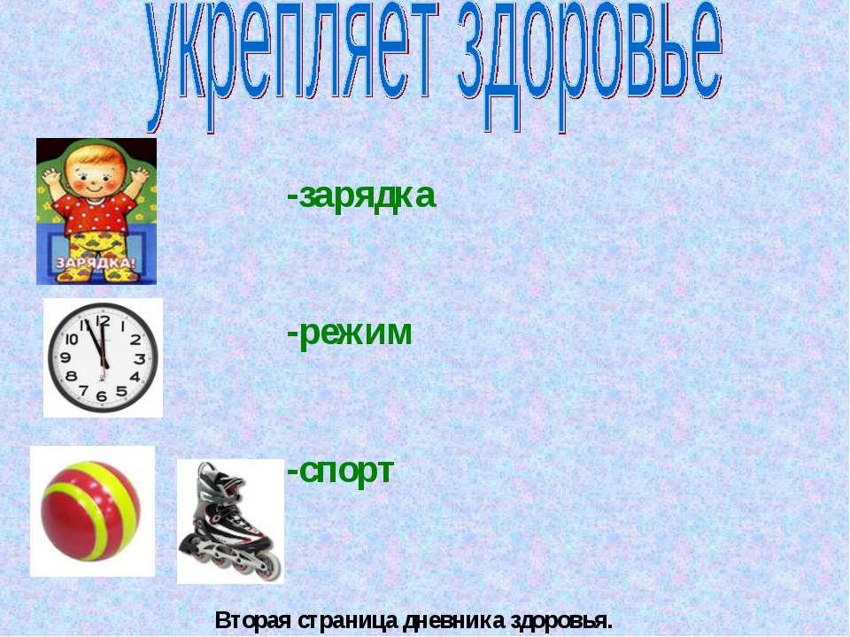 -зарядка -режим -спорт Вторая страница дневника здоровья.