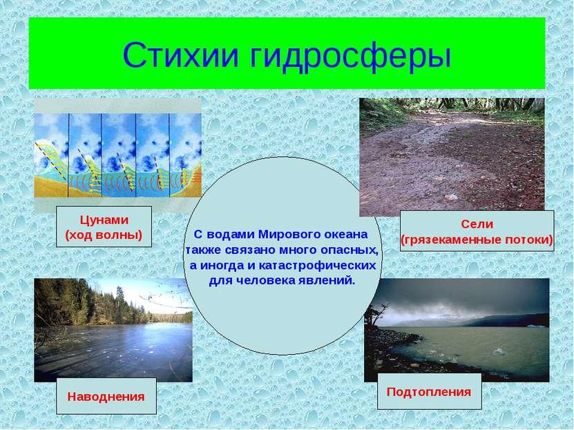 Стихии гидросферы С водами Мирового океана также связано много опасных, а ино...
