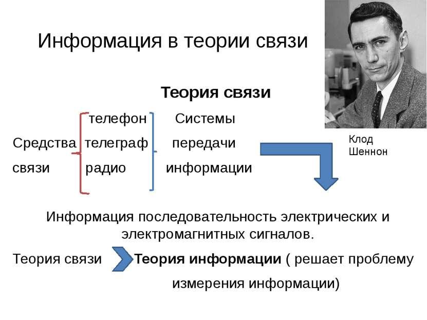Информация в теории связи Теория связи телефон Системы Средства телеграф пере...