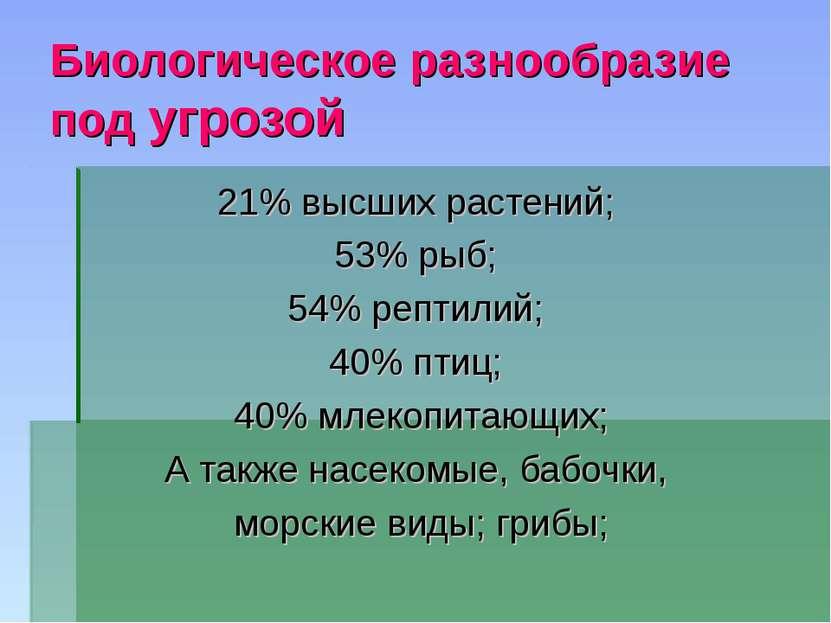 Биологическое разнообразие под угрозой 21% высших растений; 53% рыб; 54% репт...