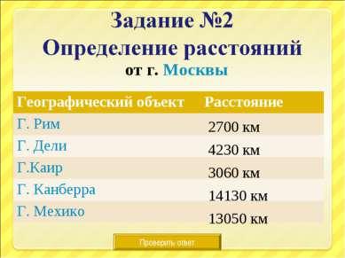 от г. Москвы Проверить ответ 2700 км 4230 км 3060 км 14130 км 13050 км Геогра...