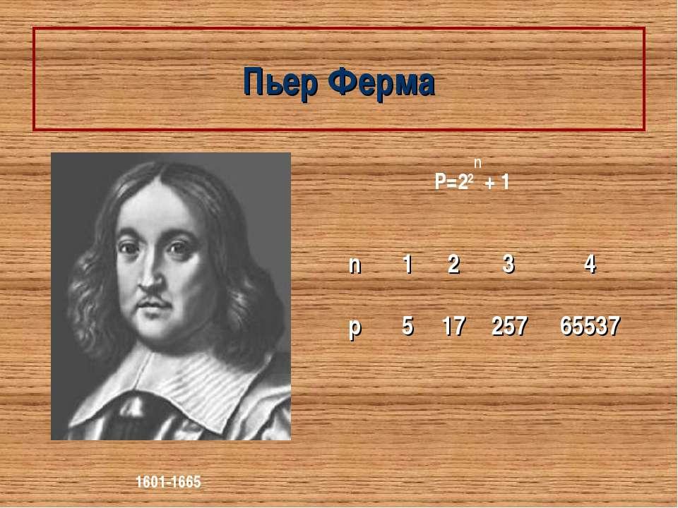 Пьер Ферма 1601-1665 P=22 + 1 n