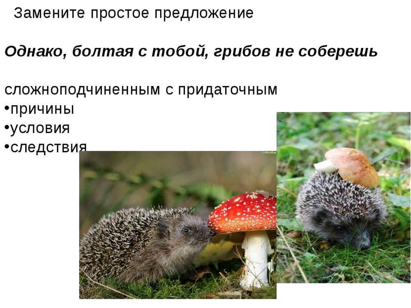 Замените простое предложение Однако, болтая с тобой, грибов не соберешь сложн...