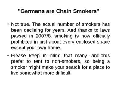 """Germans are Chain Smokers"" Not true. The actual number of smokers has been d..."