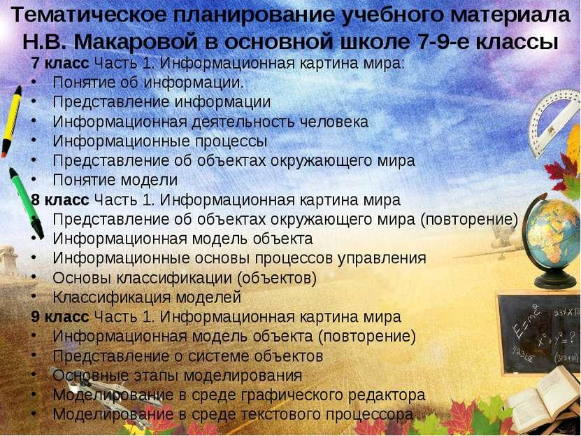 Тематическое планирование учебного материала Н.В. Макаровой в основной школе ...
