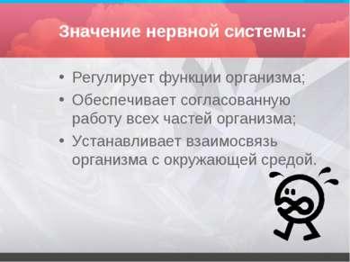 Значение нервной системы: Регулирует функции организма; Обеспечивает согласов...