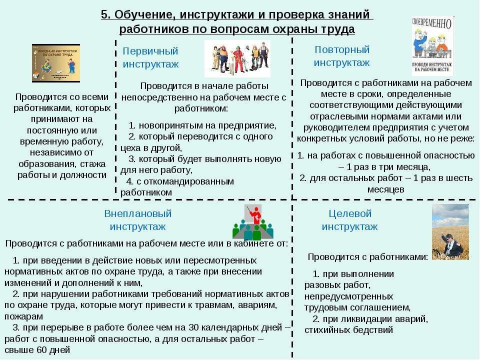 5. Обучение, инструктажи и проверка знаний работников по вопросам охраны труд...