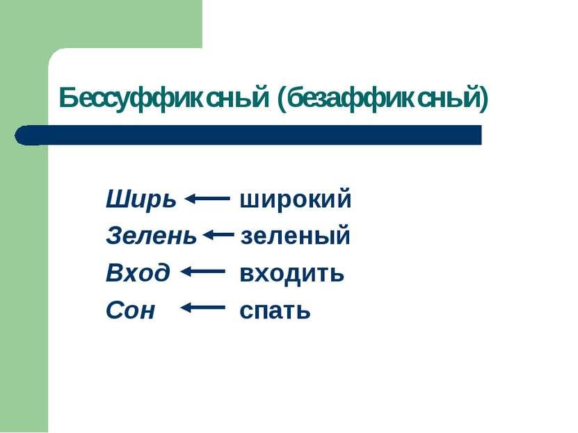 Бессуффиксный (безаффиксный) Ширь широкий Зелень зеленый Вход входить Сон спать