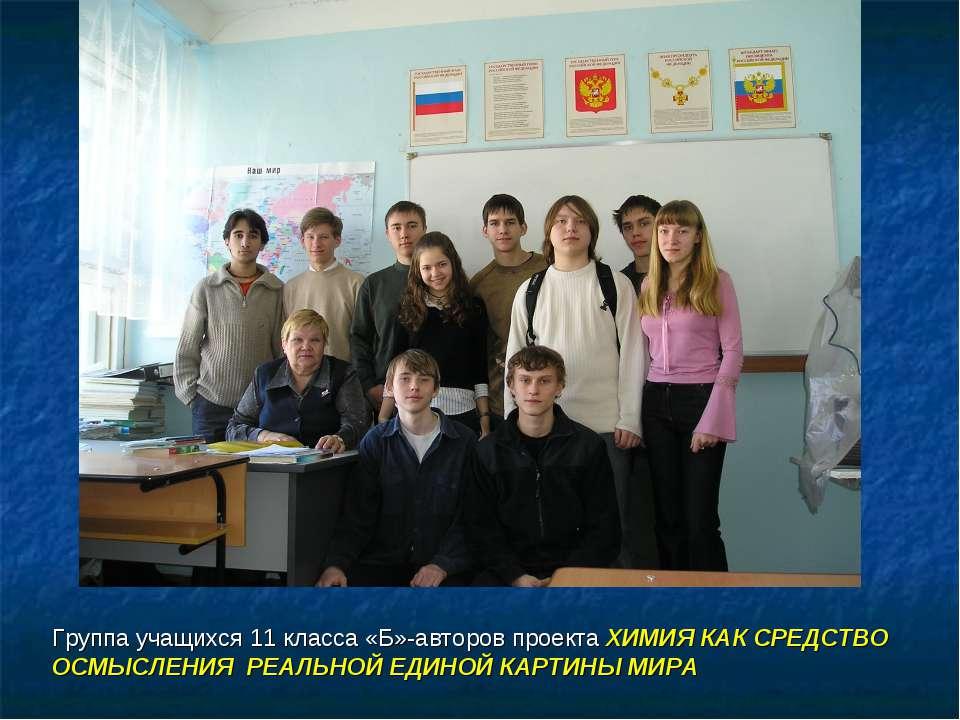Группа учащихся 11 класса «Б»-авторов проекта ХИМИЯ КАК СРЕДСТВО ОСМЫСЛЕНИЯ Р...