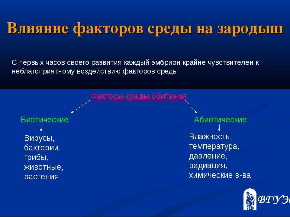 Влияние факторов среды на зародыш Факторы среды обитания Биотические Абиотиче...