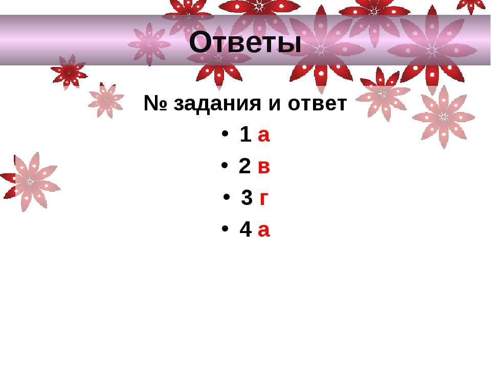 Ответы № задания и ответ 1 а 2 в 3 г 4 а