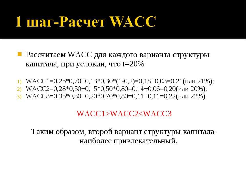 Рассчитаем WACC для каждого варианта структуры капитала, при условии, что t=2...