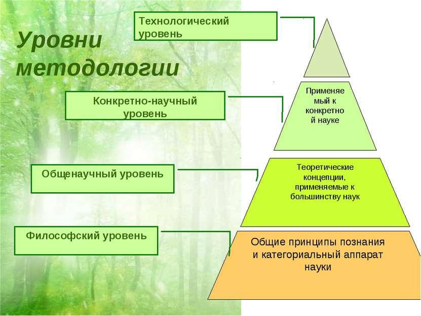 Применяемый к конкретной науке Теоретические концепции, применяемые к большин...