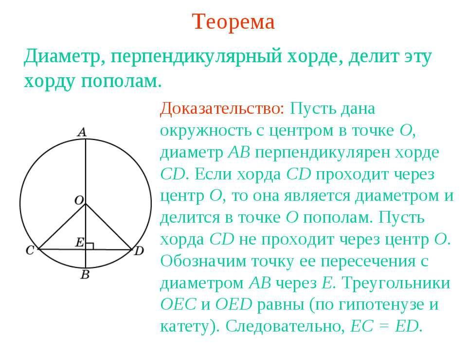 Теорема Диаметр, перпендикулярный хорде, делит эту хорду пополам. Доказательс...
