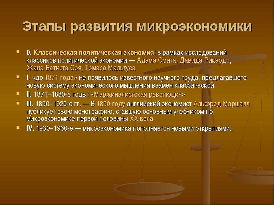 Этапы развития микроэкономики 0. Классическая политическая экономия: в рамках...