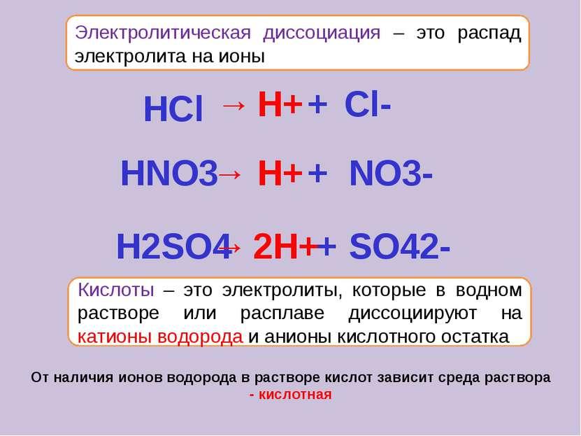Электролитическая диссоциация – это распад электролита на ионы Кислоты – это ...