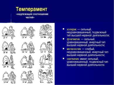 Темперамент «надлежащее соотношение частей» холерик — сильный, неуравновешенн...