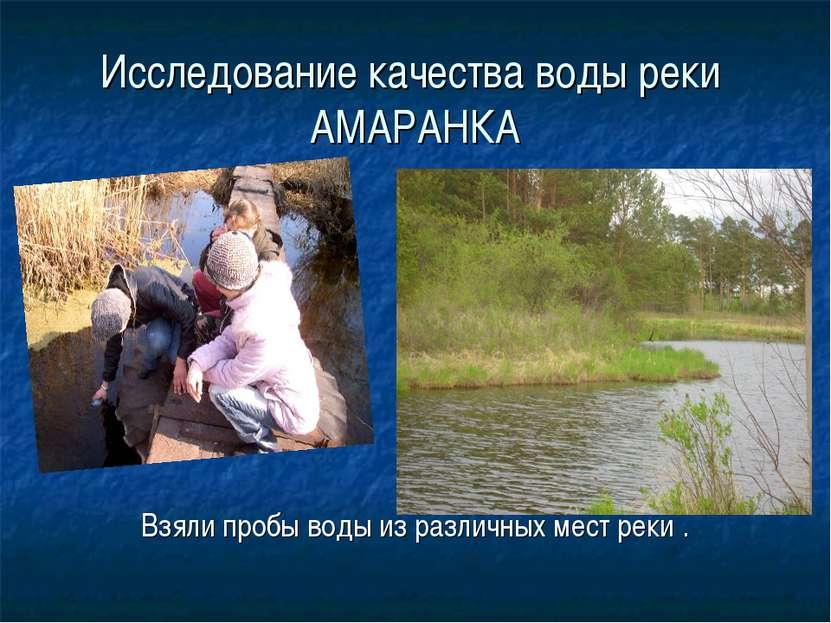 Исследование качества воды реки АМАРАНКА Взяли пробы воды из различных мест р...