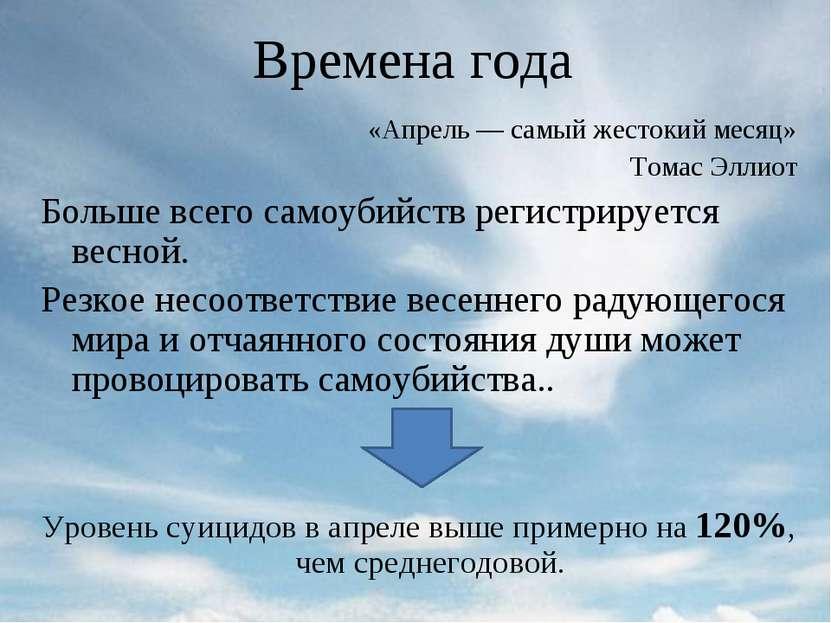 Времена года «Апрель — самый жестокий месяц» Томас Эллиот Больше всего самоуб...