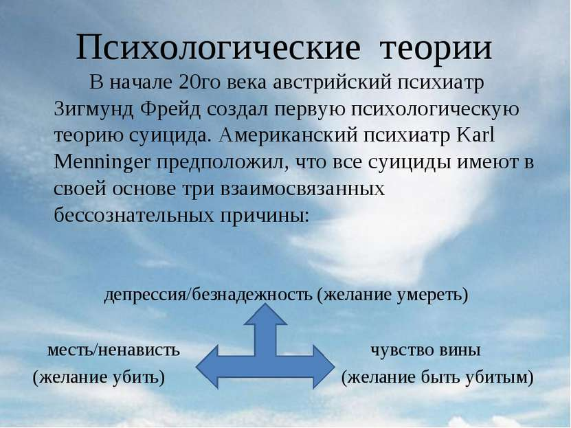 Психологические теории В начале 20го века австрийский психиатр Зигмунд Фрейд ...