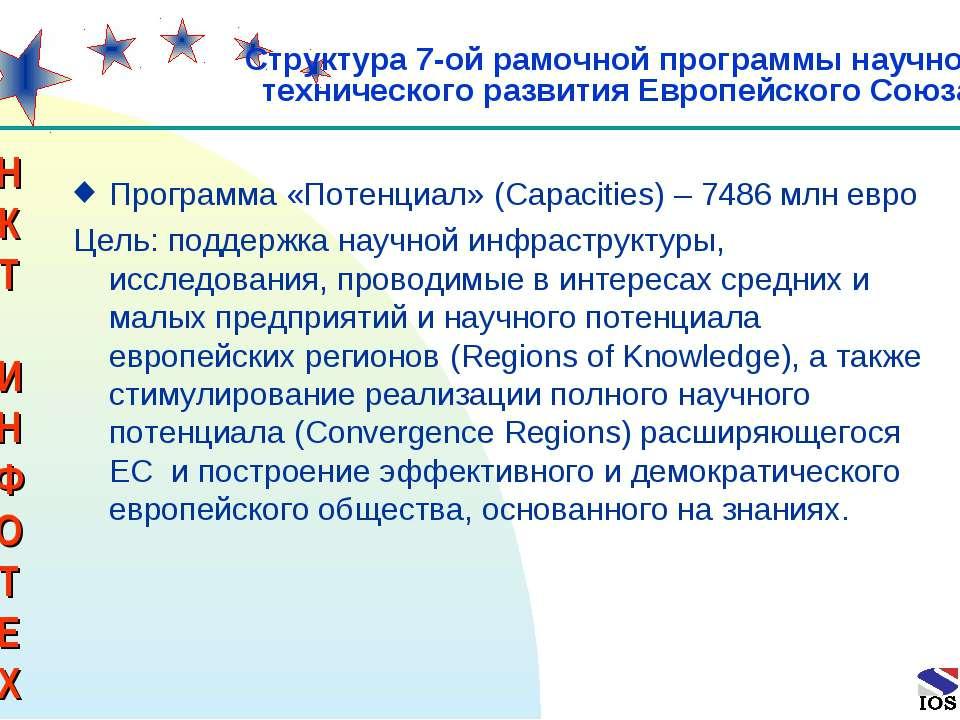 * Программа «Потенциал» (Capacities) – 7486 млн евро Цель: поддержка научной ...