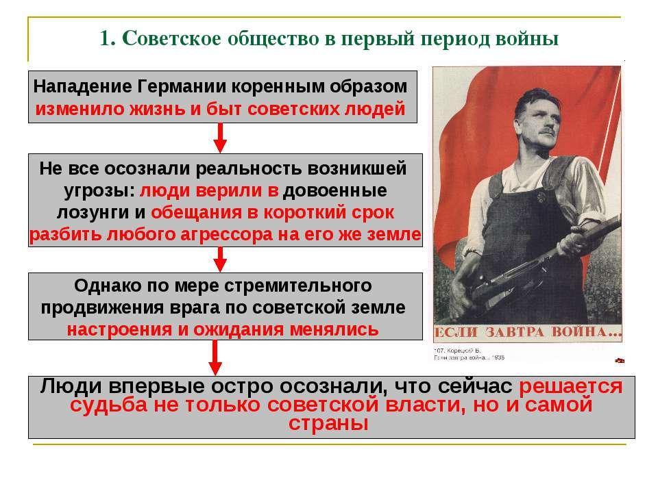 1. Советское общество в первый период войны Нападение Германии коренным образ...
