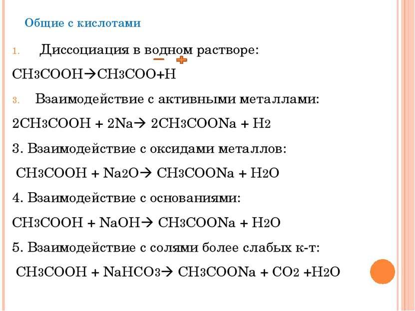 Общие с кислотами Диссоциация в водном растворе: СН3СООН СН3СОО+Н Взаимодейст...