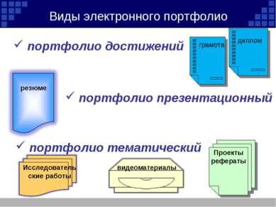 Виды электронного портфолио портфолио достижений грамота диплом Проекты рефер...
