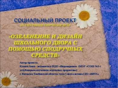 Автор проекта: Кузина Анна - активистка ШДО «Возрождение» (МОУ «СОШ №3 с углу...