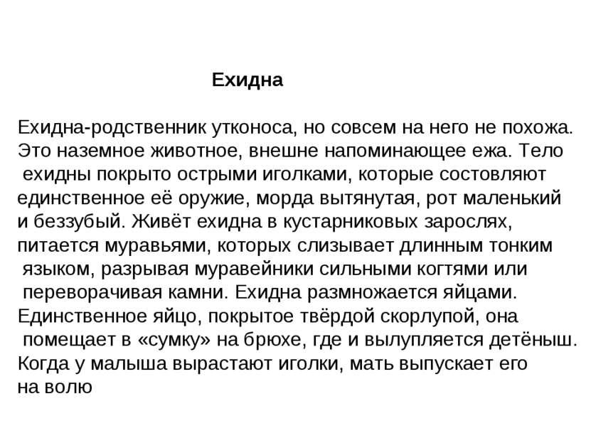 Ехидна Ехидна-родственник утконоса, но совсем на него не похожа. Это наземное...