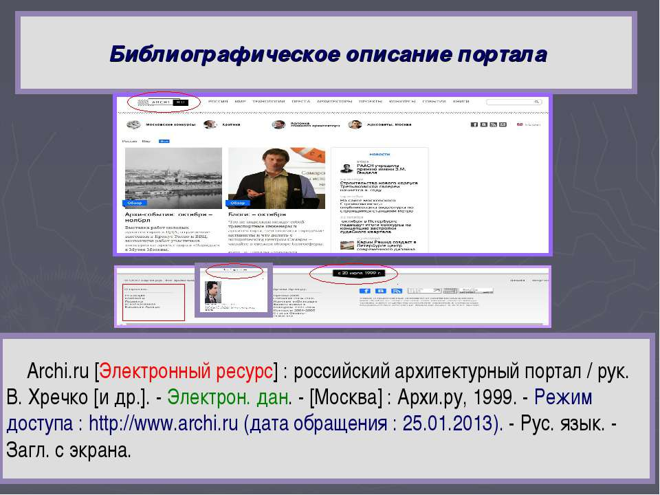 Библиографическое описание портала Archi.ru [Электронный ресурс] : российский...